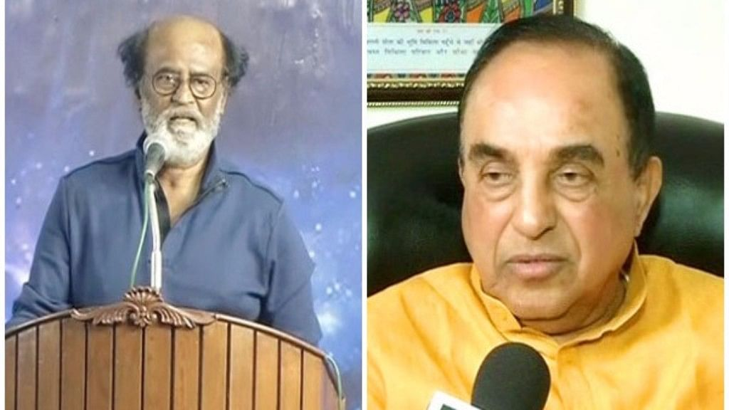 Rajinikanth (L) and Subramanian Swamy (R)