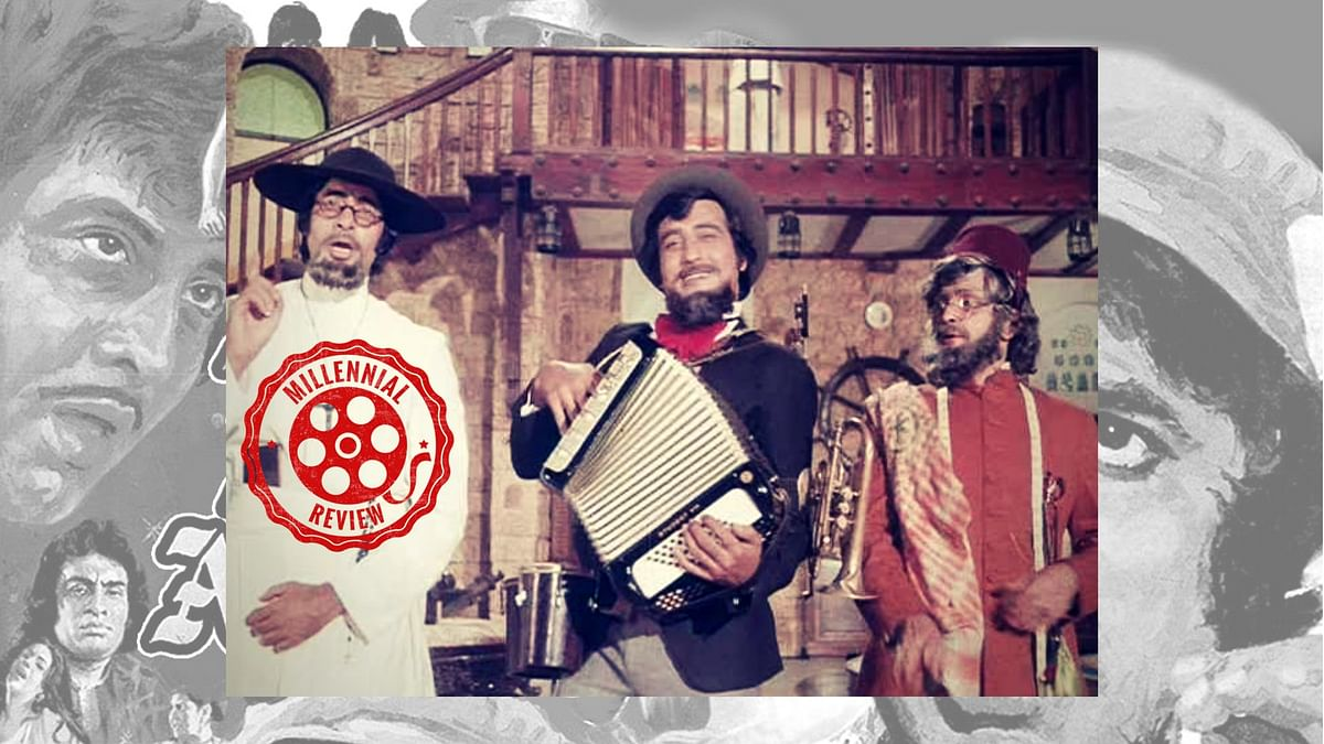 Amitabh Bachchan, Vinod Khanna and Rishi Kapoor in <i>Amar Akbar Anthony.</i>