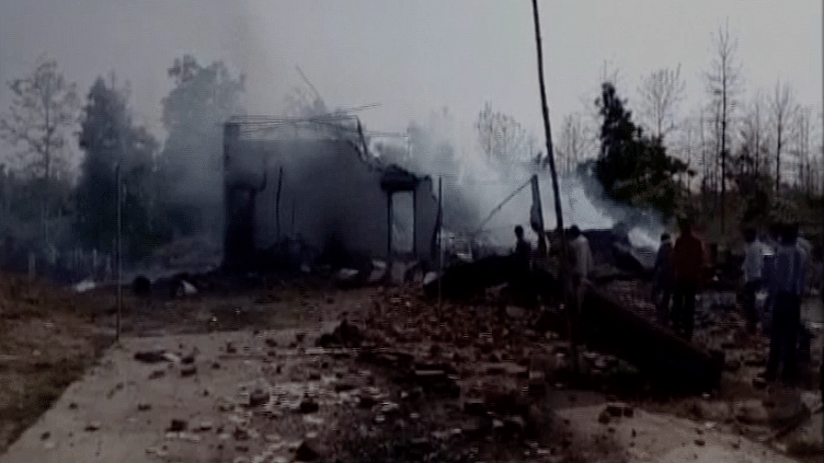 The blaze started around 3 pm in the firecracker factory in MP's Balaghat district. (Photo Courtesy: ANI screengrab)