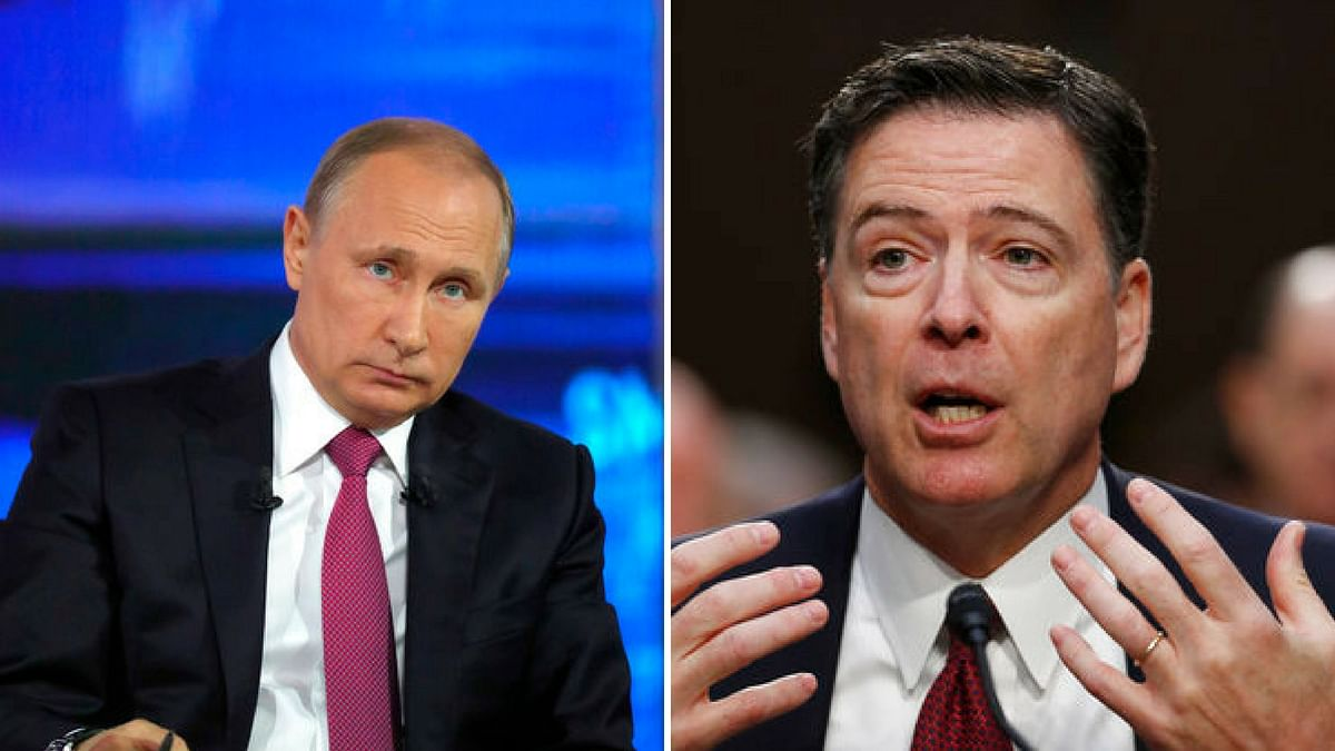 Russia President Vladimir Putin and FBI Director James Comey. (Photo courtesy: AP/ Altered by <b>The Quint</b>)