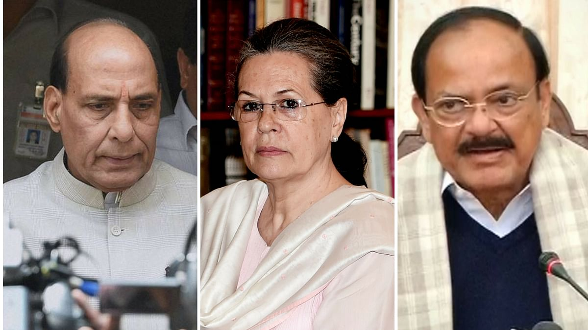 Home Minister Rajnath Singh and Union Minister Venkaiah Naidu will meet Congress President Sonia Gandhi to decide on the possibility of a consensual presidential candidate. (Photo: Altered by <b>The Quint</b>)