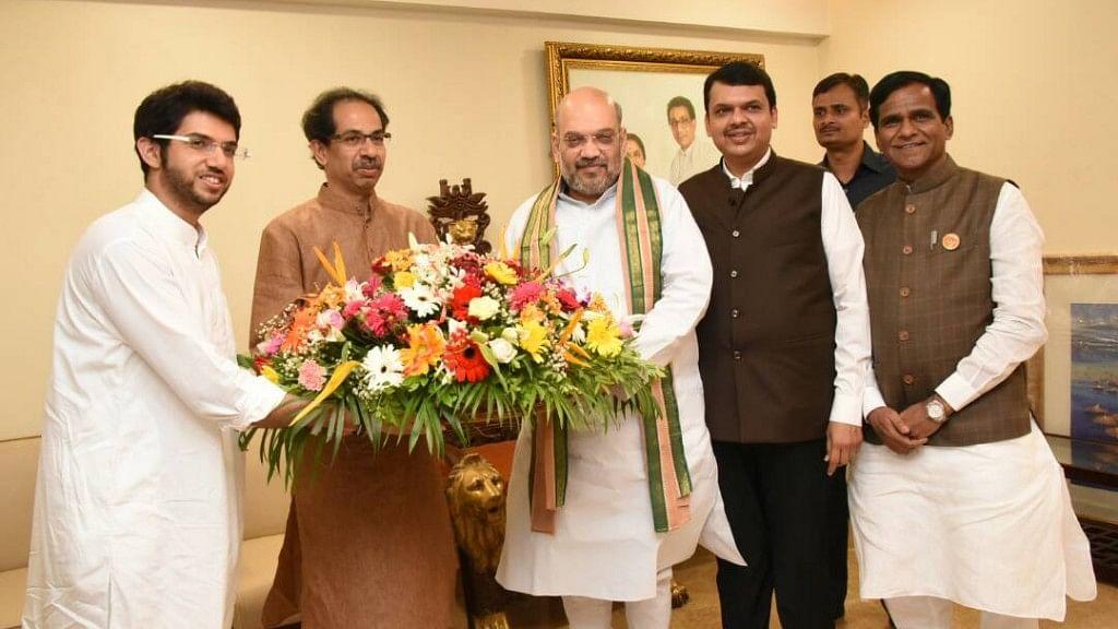 Aditya and Uddhav Thackeray of Shiv Sena with the BJP's Amit Shah and Maharashtra CM Devendra Fadnavis in a file photo.