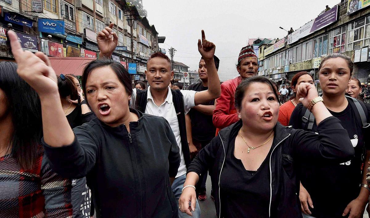 GJM activists take to streets in Darjeeling. (Photo: PTI)