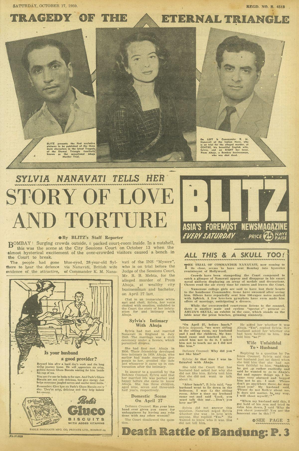 Coverage of the Nanavati case in the tabloid <i>Blitz</i>. (Photo courtesy: Juggernaut)