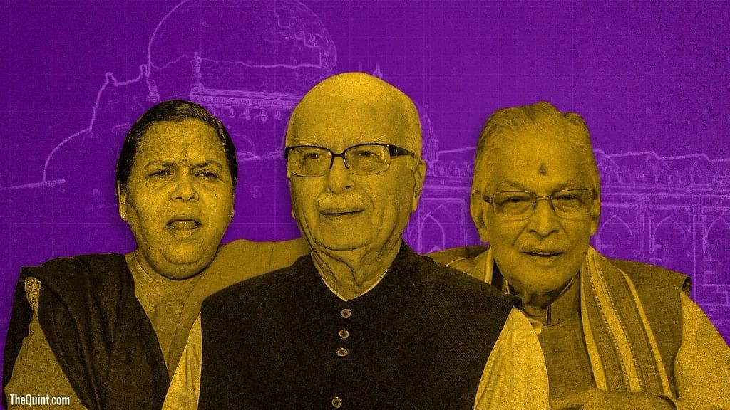Uma Bharti, LK Advani and Murli Manohar Joshi were exempted from making personal appearance for day-to-day trial. (Photo: <b>The Quint</b>)