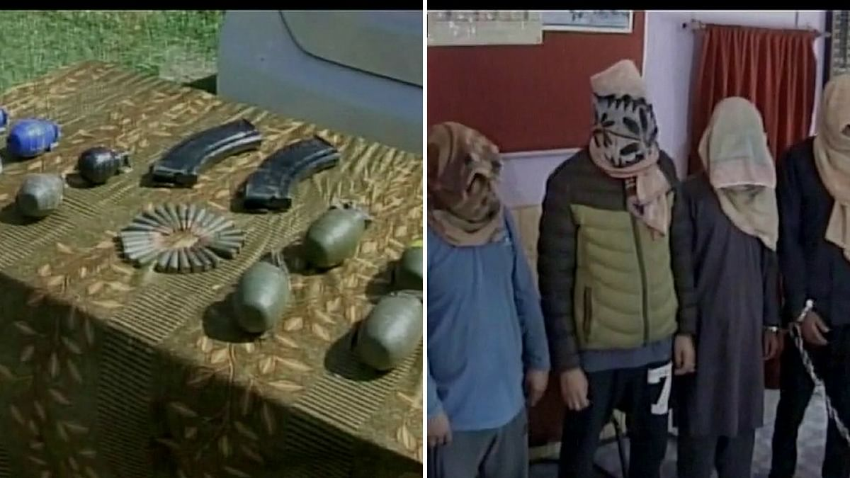 The recoveries from their car included 10 hand grenades, two AK magazines and 27 AK rounds, a police official said. (Photo: ANI)