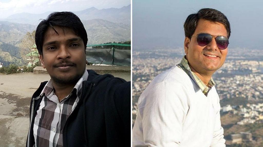 IAS aspirants Avinash Singh (left) and Ashutosh Dwivedi. (Photo: Facebook/<b>The Quint</b>)