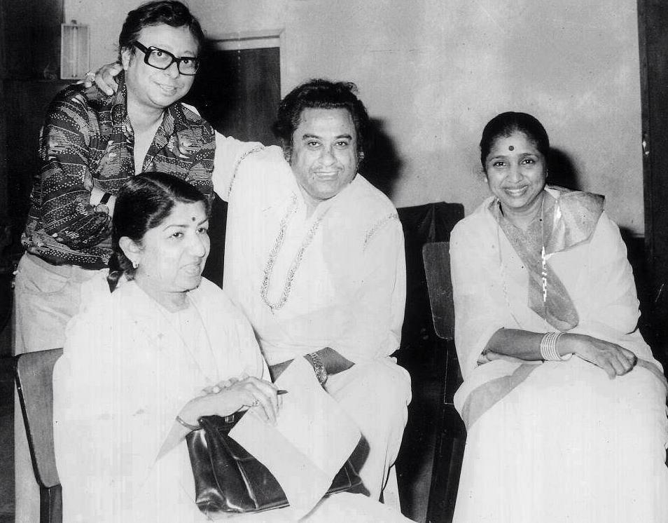 RD Burman with Kishore Kumar, Lata Mangeshkar and Asha Bhosle.