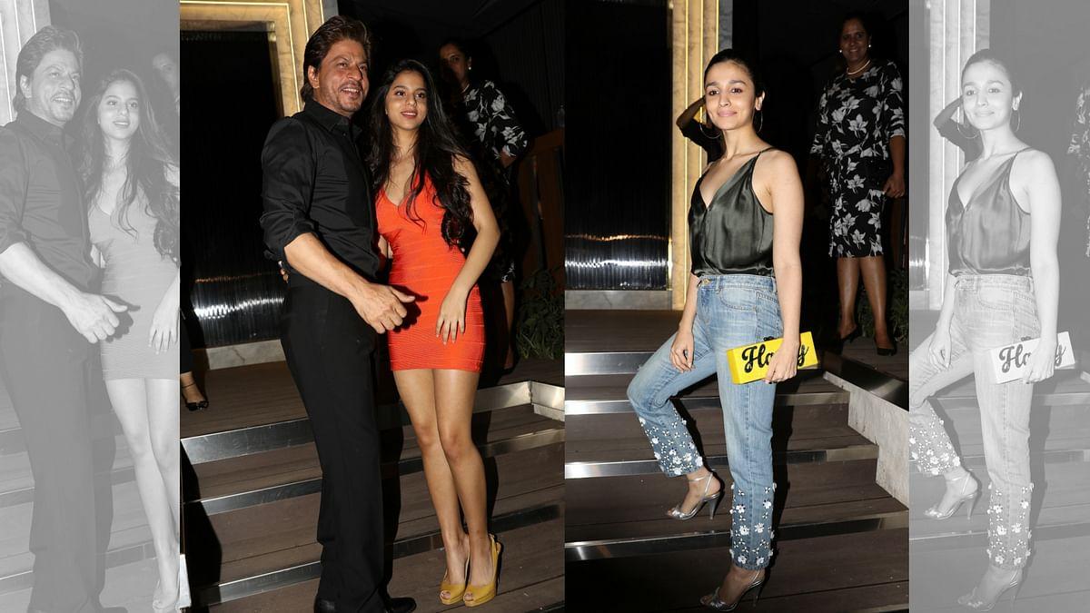 Shah Rukh Khan, Suhana and Alia Bhatt at the opening of a new restaurant in Mumbai. (Photo: Yogen Shah)