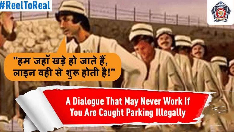"""Using the film <i>Kaalia</i>, the Mumbai Police has aimed to keep its citizens from committing parking violations. (Photo Courtesy: Twitter/<a href=""""https://twitter.com/MumbaiPolice"""">@MumbaiPolice</a>) &nbsp;"""