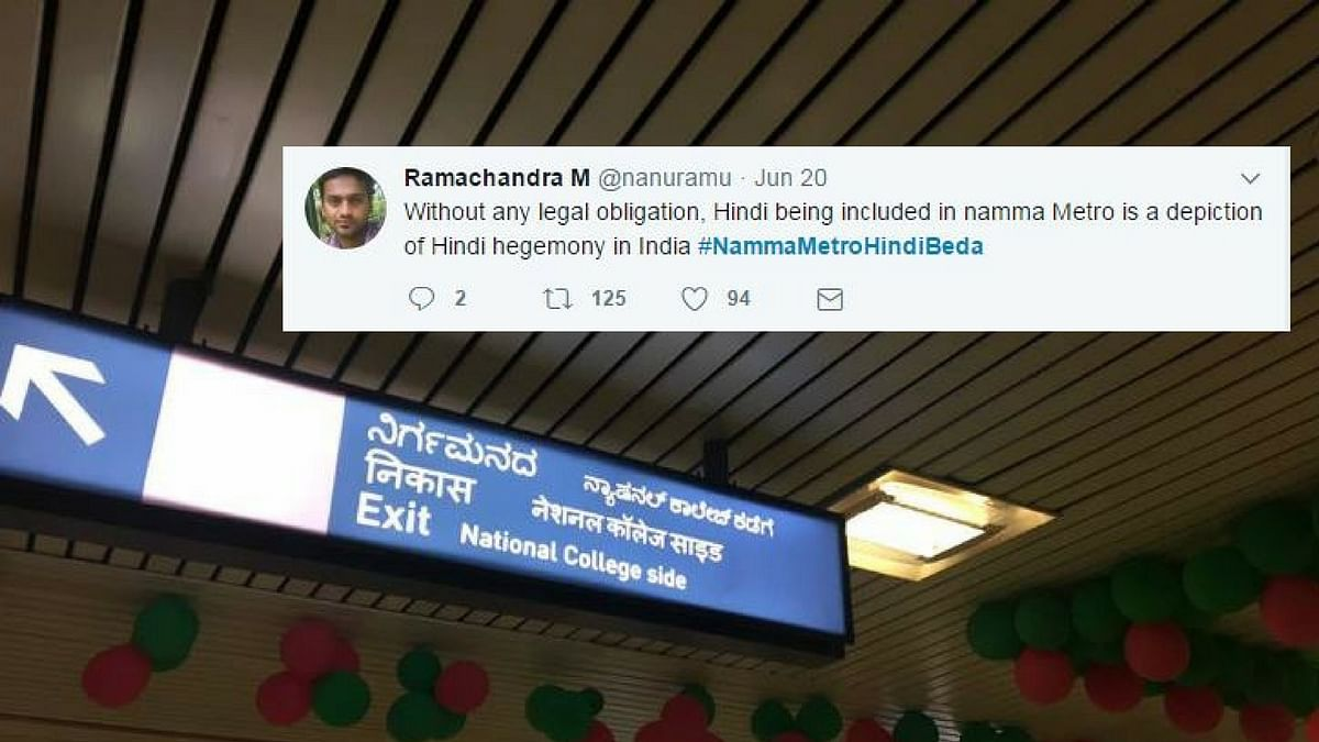 """The decision to include Hindi in the metro's signage has been met with anger. (Photo Courtesy: Twitter/<a href=""""https://twitter.com/NavaneethGowda1"""">@NavaneethGowda1</a>)"""
