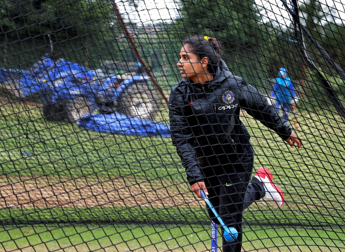 Mithali warming-up in the nets.