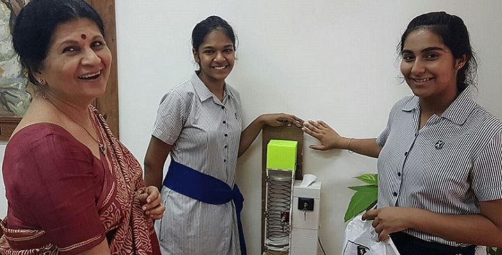 Mumbai girls Devika Malhotra, Malini Dasgupta, and Aditi Arya, built a 3D printed dispenser, which uses a coil and light sensor to release sanitary napkins.