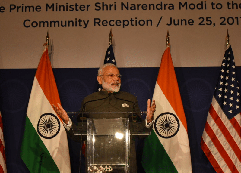 "Prime Minister Narendra Modi addresses the Indian community in Washington DC on Sunday. (Photo Courtesy: <a href=""https://twitter.com/PMOIndia"">@PMOIndia</a>/Twitter)"