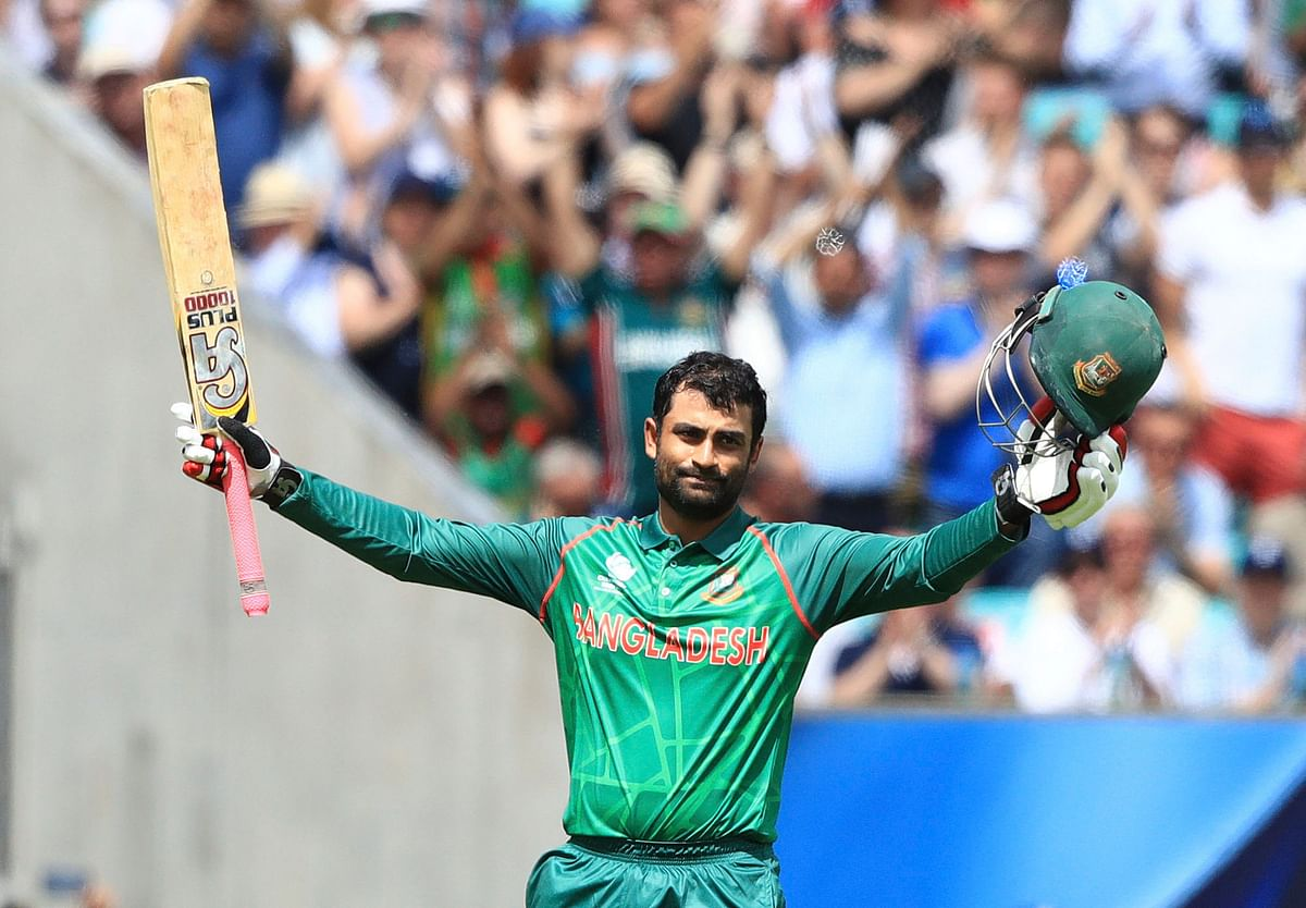 Tamim Iqbal, scored 128 runs, the highest ever individual score for Bangladesh in the trophy. (Photo: AP)
