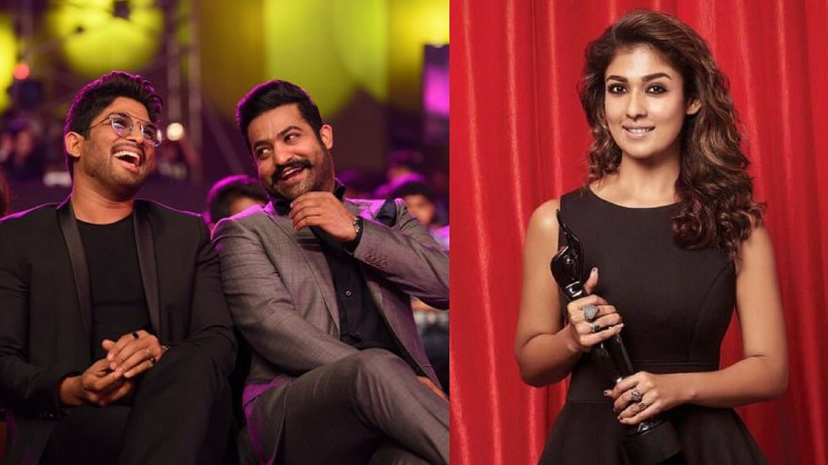 "Allu  Arjun, Jr NTR and Nayanthara at Filmfare Awards (South) 2017. (Photo courtesy: <a href=""https://twitter.com/rameshlaus/status/876437114195394561"">Twitter/ RameshBala</a>/ <a href=""https://twitter.com/NayantharaLive/status/781055180523446272"">Nayantharalive</a>)"