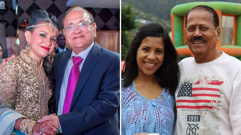 Harsha Narrainen and Pranjalee Lahiri with their dads. (Photo Courtesy: Harsha Narrainen/Pranjalee Lahiri)