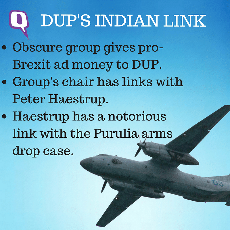 How is the Arlene Foster-led North Ireland's Democratic Unionist Party linked to the Purulia arms drop case? (Image: <b>The Quint</b>)
