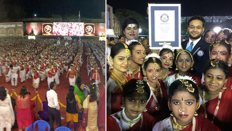 """4,525 Bharatnatyam dancers set a world record in Chennai. (Photo Courtesy: <a href=""""http://www.guinnessworldrecords.com/news/2017/4/thousands-take-part-in-world%E2%80%99s-largest-bharatha-natyam-dance-in-india-469255"""">Guinness World Records</a>)"""
