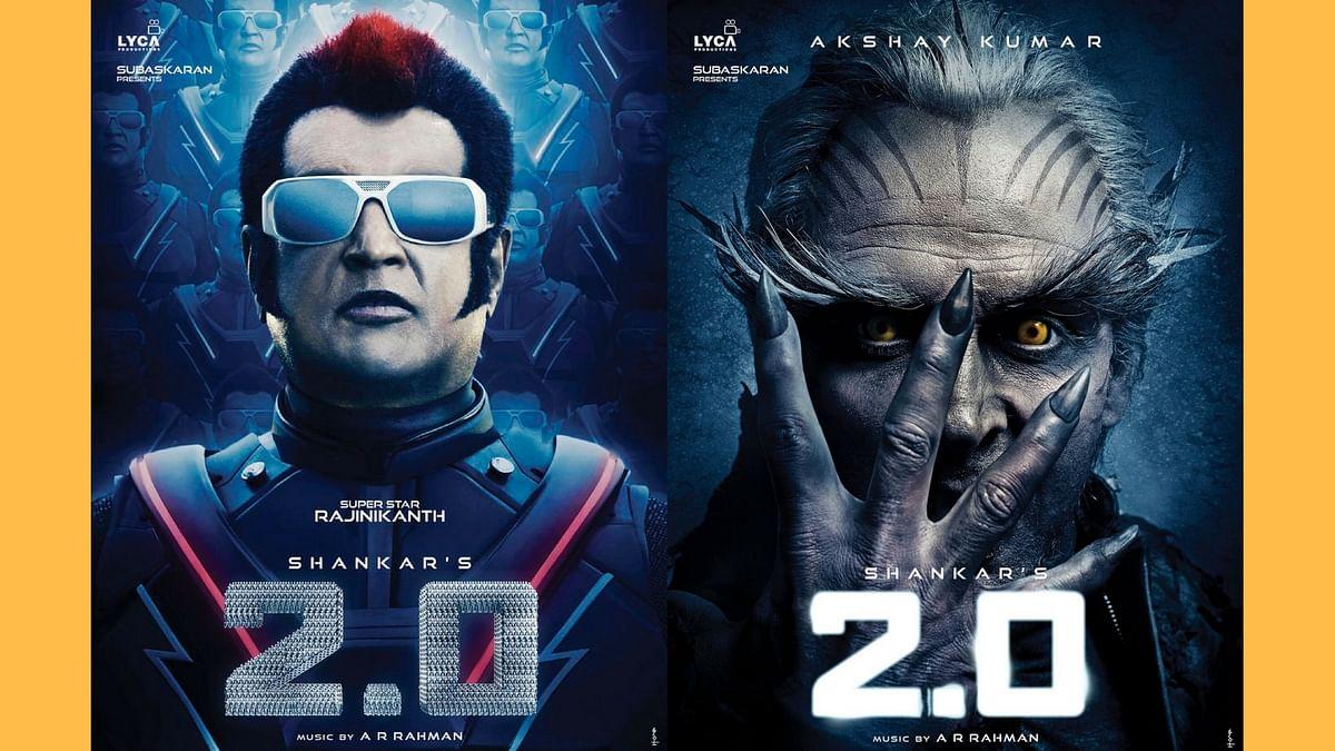 Rajinikanth and Akshay Kumar on the posters of <i>2.0.</i>