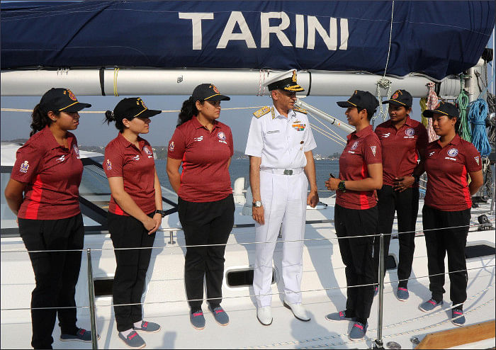 "The INSV Tarini's all-woman crew. (Photo Courtesy: <a href=""https://en.wikipedia.org/wiki/INSV_Tarini#/media/File:Tarni4.jpg"">Wikimedia Commons</a>)"