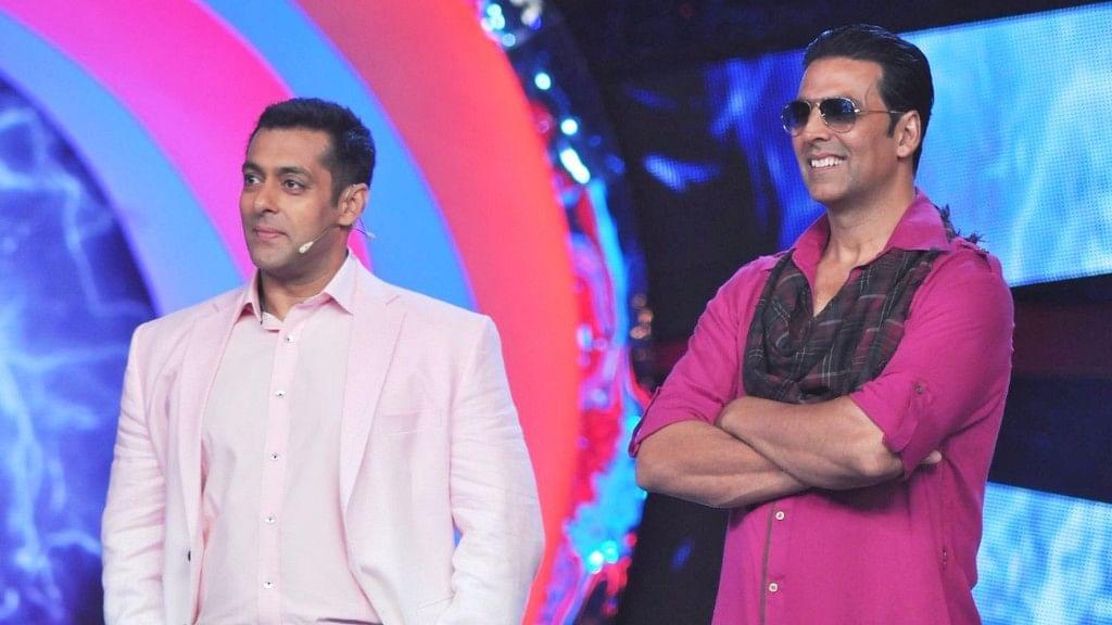 Salman Khan and Akshay Kumar on the sets of <i>Bigg Boss.</i>