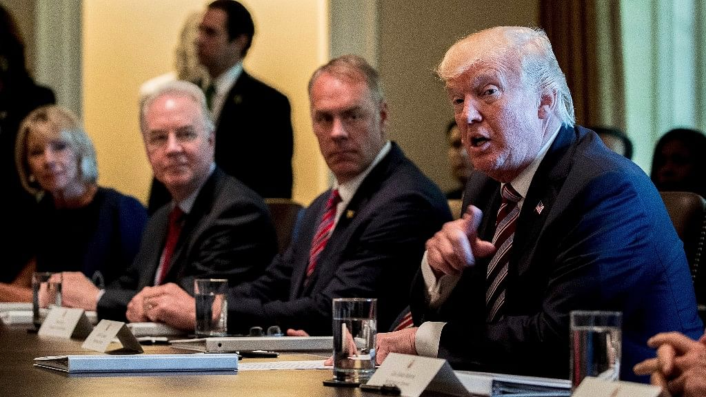 President Donald Trump speaks during a Cabinet Meeting on Monday, in the Cabinet Room of the White House in Washington. (Photo: AP)