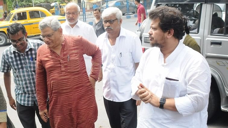 CPI-M General Secretary Sitaram Yechury along with CPI-M MP Ritabrata Banerjee, who's been suspended from the party for three months. (Photo: IANS)