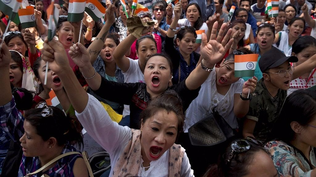 Protesters demanding the creation of separate state of Gorkhaland. (Photo: PTI)