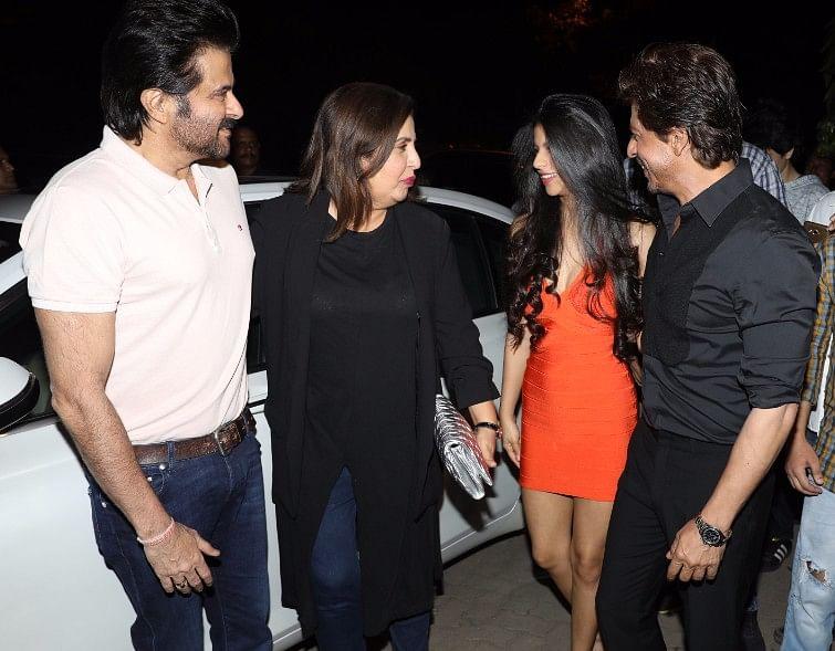 Anil Kapoor, Farah Khan exchange a word with Shah Rukh Khan and daughter Suhana. (Photo: Yogen Shah)