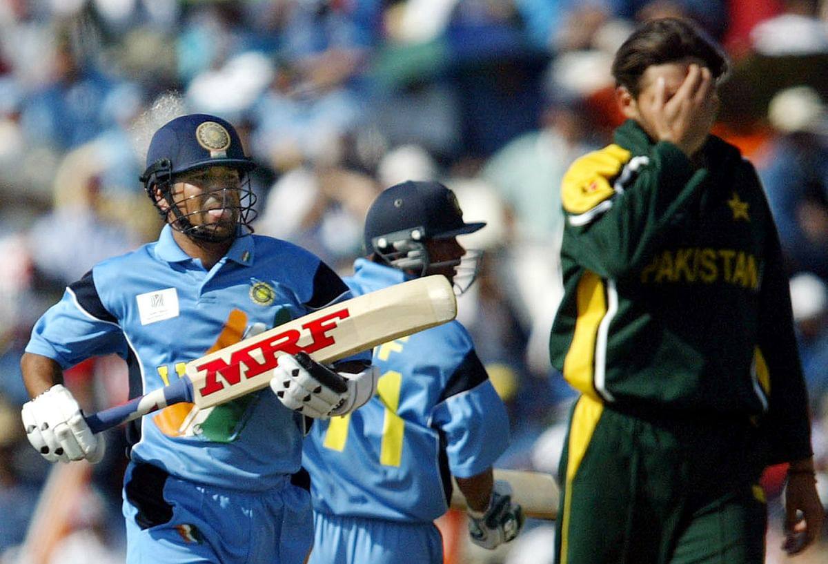 In the 2003 World Cup match against Pakistan, Sachin takes a run to complete his 12,000 ODI runs. (Photo: Reuters)