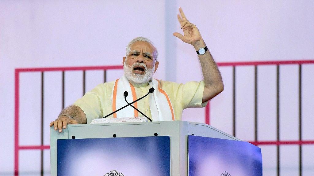 Prime Minister Narendra Modi addresses a gathering at the Sabarmati Ashram during its centenary celebration in Ahmedabad on Thursday.