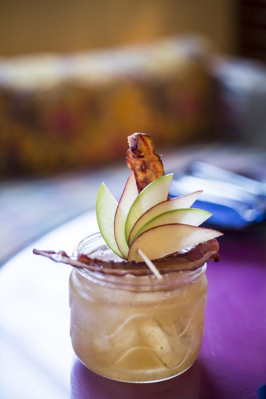 'Suorer Bachha' cocktail garnished with bacon originated from the memories of pigs at Asansol. (Photo Courtesy: Lavaash by Saby and SodaBottleOpenerWala)