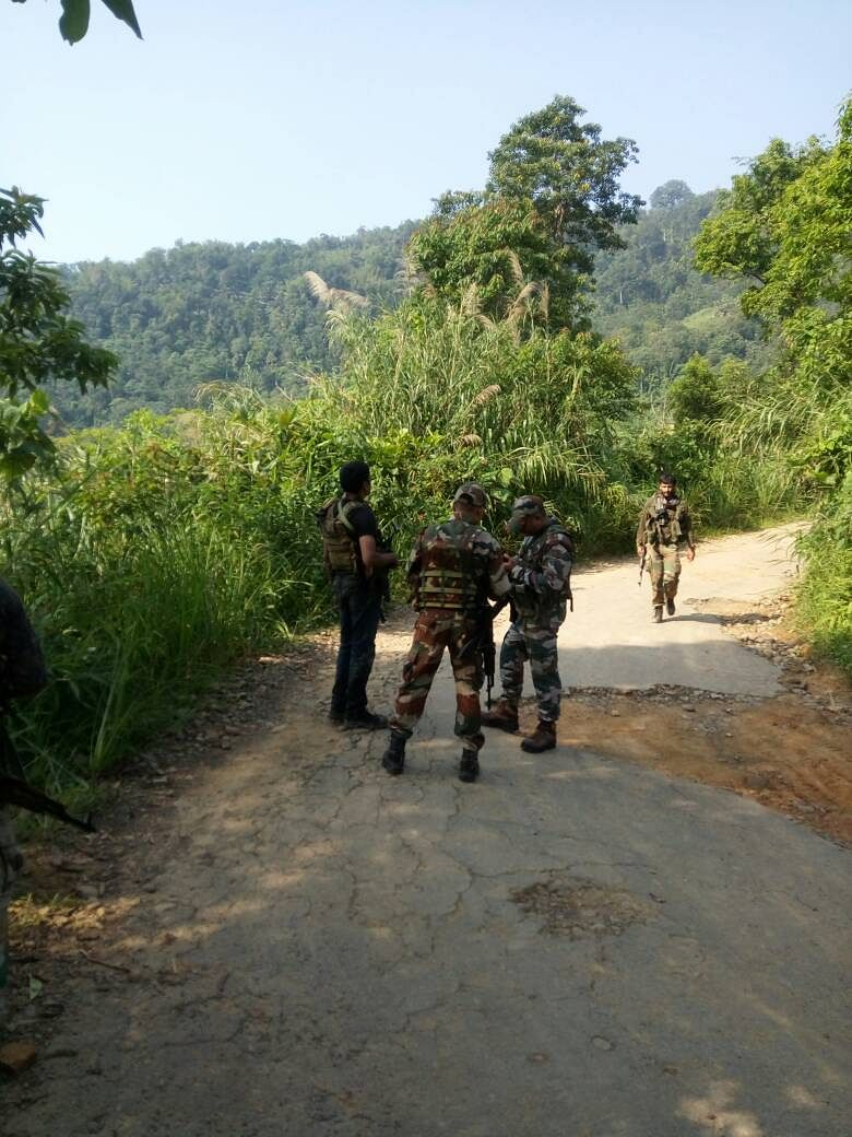 Army personnel at the site of encounter. (Photo: Anjana Dutt)