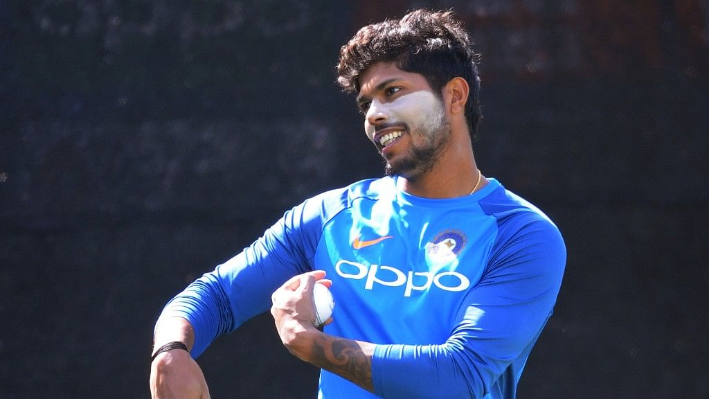 Umesh Yadav bowls in the nets during a practice session ahead of their ICC Champions Trophy Group B match against Pakistan. (Photo: AP)