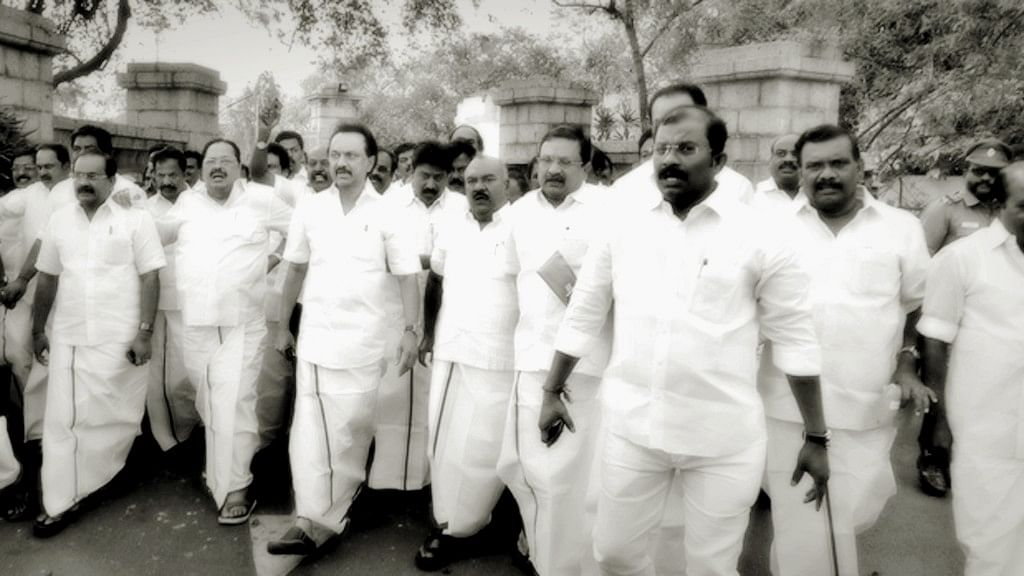 MK Stalin belongs to a long line of politicians who have milked the Dravidian rhetoric popularised by Periyar in the early 40s. (Photo: Altered by <b>The Quint</b>)