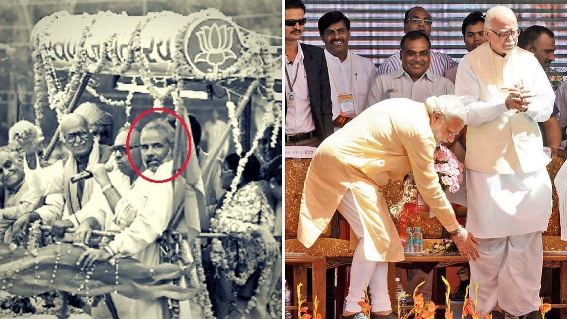 Narendra Modi and LK Advani over the years. (Photo: <b>The Quint</b>)