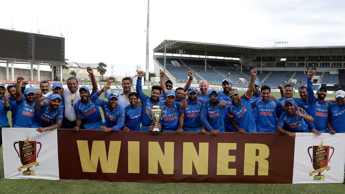 Indian cricket team celebrate with the trophy after beating West Indies 3-1 in their five match ODI series.