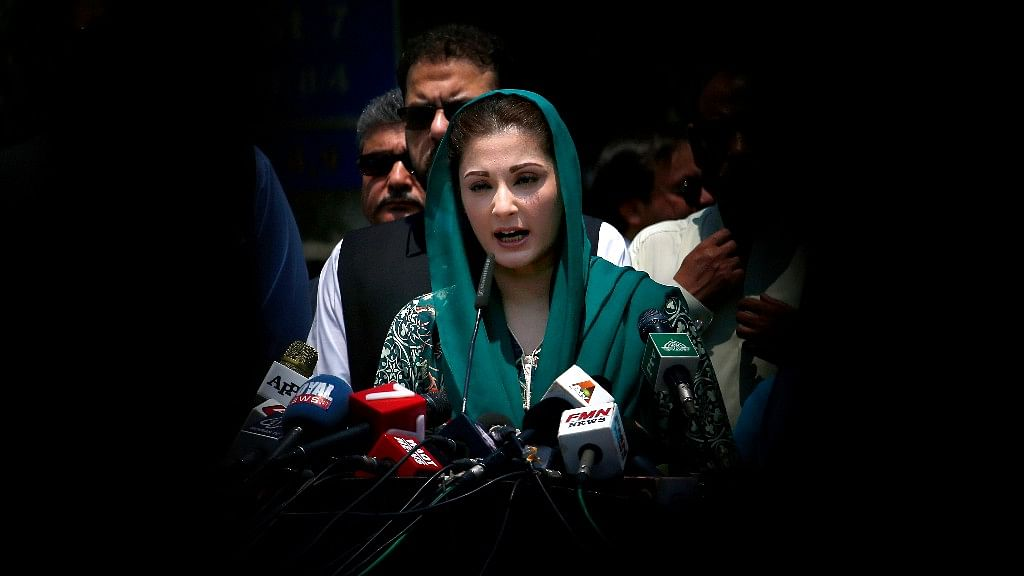 Maryam Nawaz, daughter of Pakistani Prime Minister Nawaz Sharif, talks to the media after an appearance before the Joint Investigation Team, in Islamabad, Pakistan on 5 July 2017.