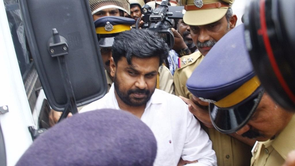 Actor Dileep being taken to be produced before Judicial First Class Magistrate Court Angamaly in connection with the abduction and molestation of a popular actress in Kochi on July 14, 2017.