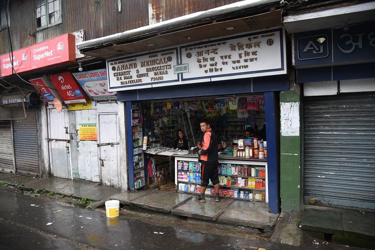 A single medical shop open in Darjeeling's Chowk Bazar.