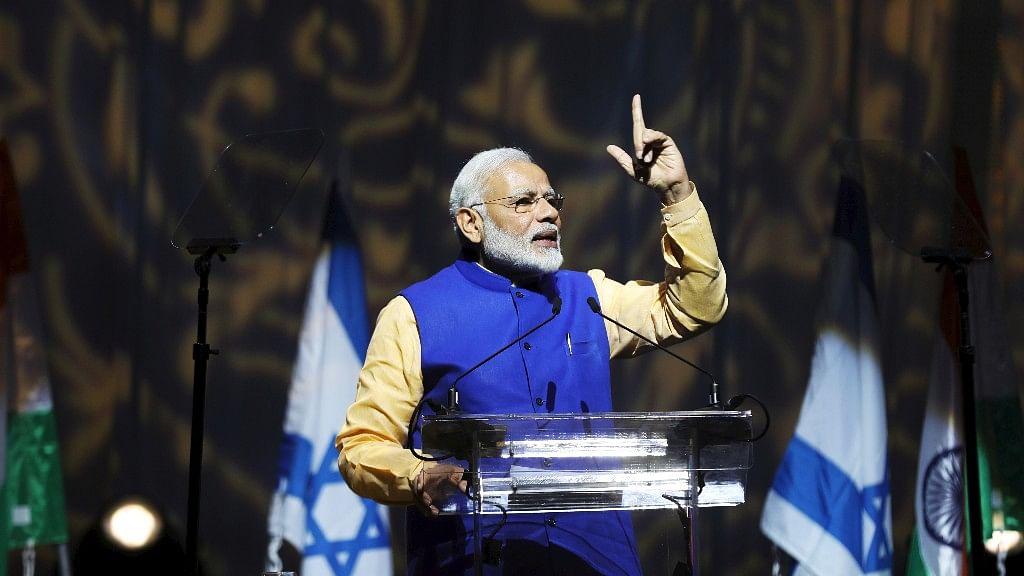 PM Narendra Modi addresses the Indian diaspora in Tel Aviv on Wednesday. (Photo: Reuters)