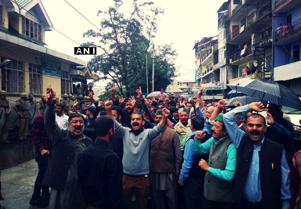 Protests continue strong in Shimla on Saturday.