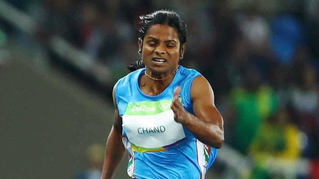 Dutee runs during the 100m event at the Rio Olympics last year.