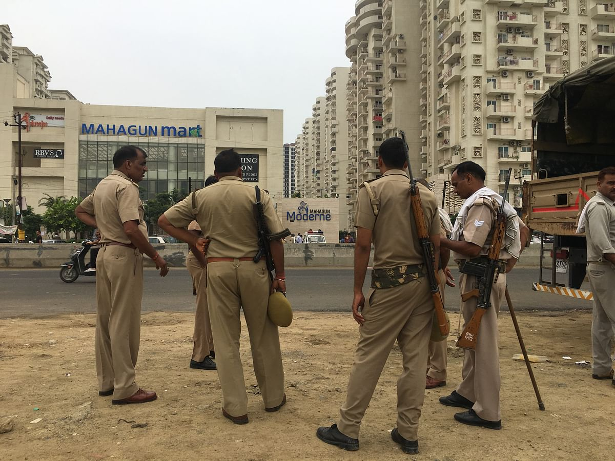 Heavy police presence has been deployed in front of Mahagun Moderne in Noida after the violence on 12 July.