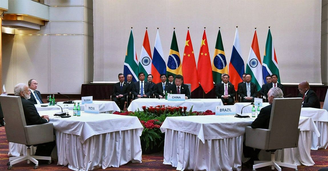 Prime Minister Narendra Modi, Russian President Vladimir Putin, Chinese President Xi Jinping and other leaders at the informal meeting of leaders of the BRICS countries.