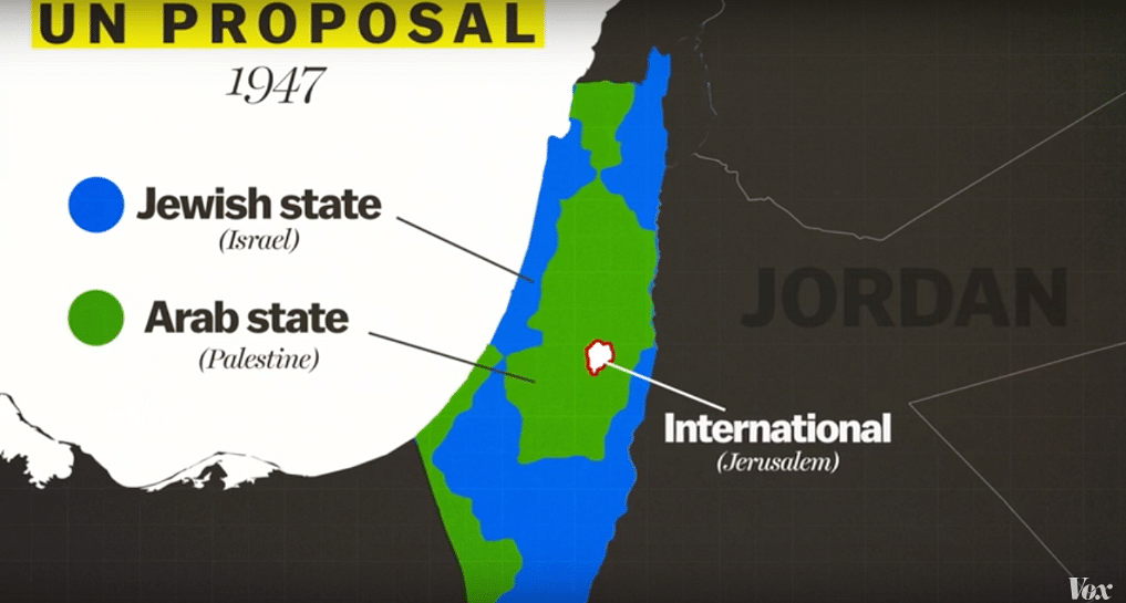 The 1947 UN proposal to divide the territory into the Jewish and Arab states.