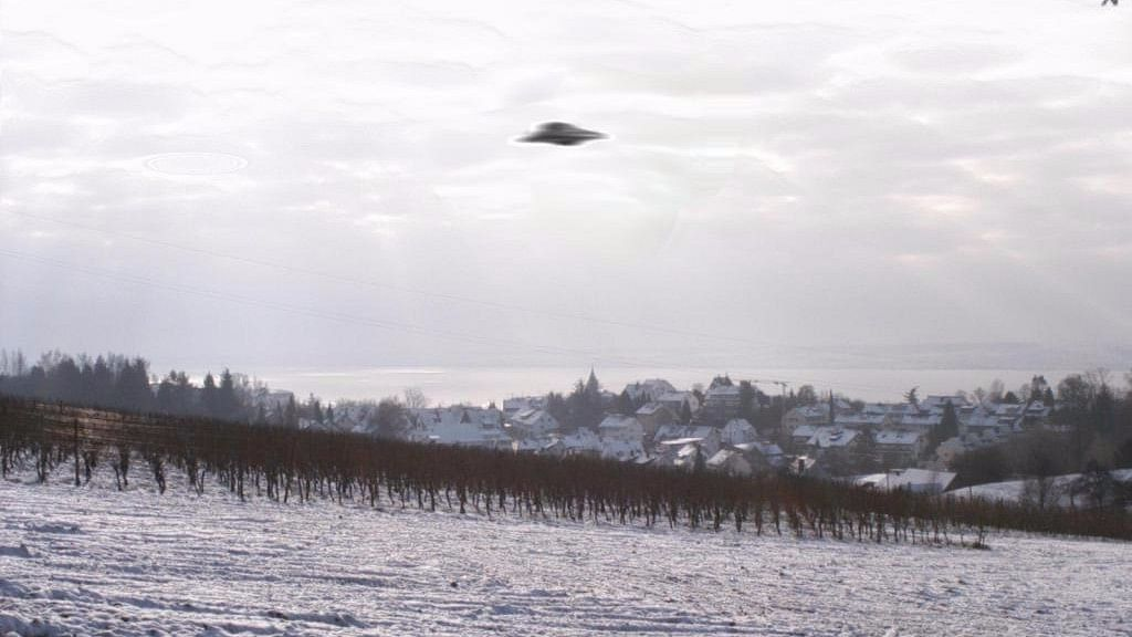An alleged UFO spotted above Meersburg in Germany.