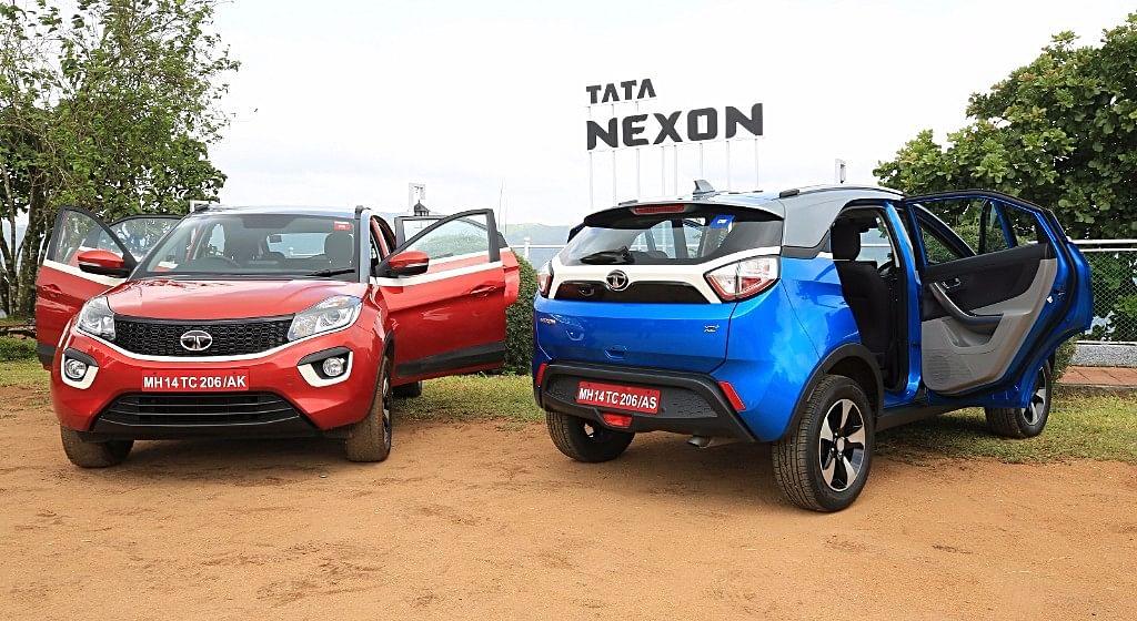 The rear of the Tata Nexon looks Range Rover Evoque inspired.