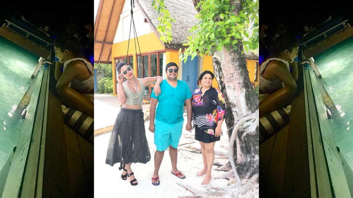 Priyanka Chopra with mom Madhu and brother Siddharth.